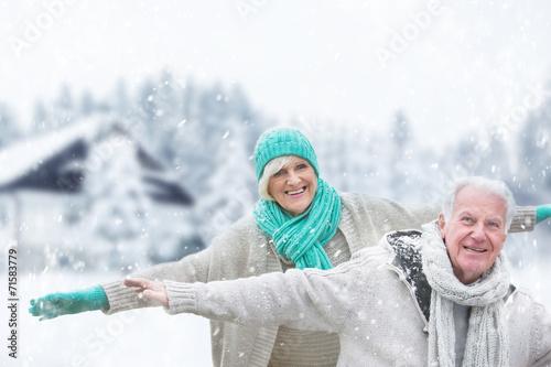 canvas print picture winter senior couple