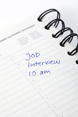 Diary entry for job interview, close up