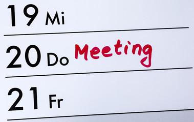 Kalendereintrag, Meeting, Nahaufnahme, Detail