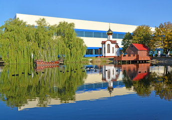 Kaliningrad. A pond with model of a wooden sailing vessel and ch