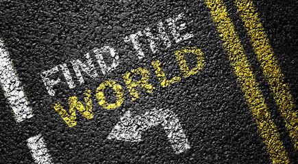 find the world on the asphalt road