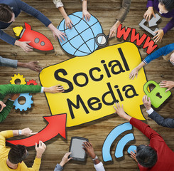 Multiethnic Group of People with Social Media