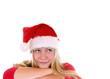 Weiblicher Nikolaus blickt nach oben