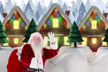 Composite image of santa claus waving