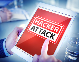 Hands Holding Digital Tablet Hacker Attack