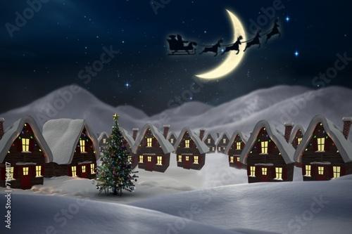 Leinwandbild Motiv Composite image of silhouette of santa claus and reindeer