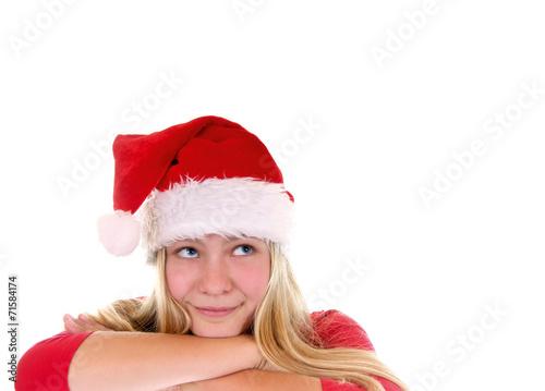 canvas print picture Weiblicher Nikolaus blickt nach oben