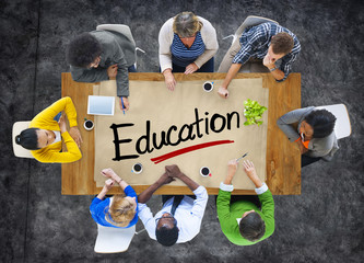 Aerial View of Multiethnic Group with Education Concept