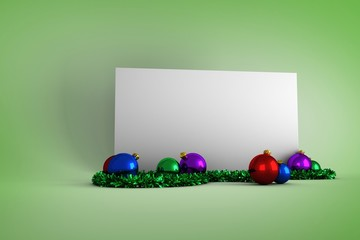 Composite image of poster with colourful christmas decorations