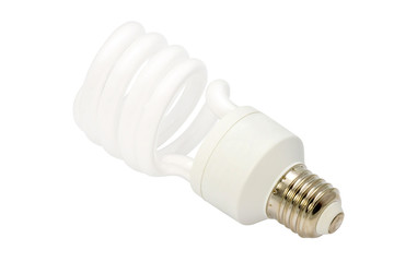 Energy saving fluorescent light bulb Isolated on white backgroun