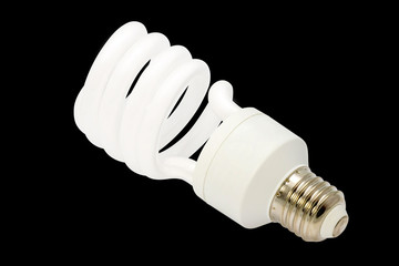 Energy saving fluorescent light bulb Isolated on black backgroun