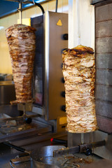 Gyro meat on rotating spit