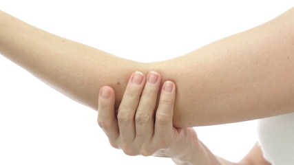 Woman Rubbing and Stretching Elbow