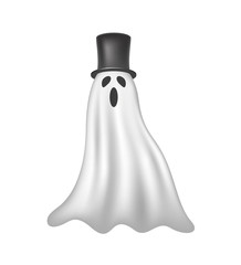 Ghost in white design with black hat