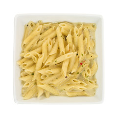 Square bowl of cooked pasta serving