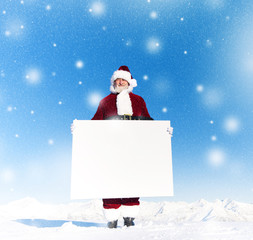 Santa with Copy Space in a Winter Wonderland