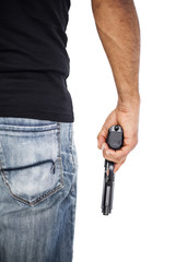 Holding man a gun isolated on white