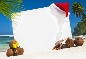Christmas Themed Copy Space On The Beach