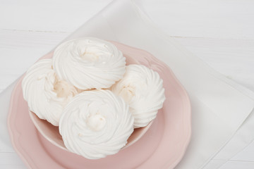 Meringue. Sweet Dessert Made From Whipped Egg Whites And Sugar.