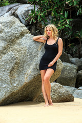 Blonde Woman Posing at the beach