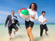 Business People Having Fun on the Beach