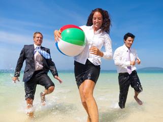 Business People Having Fun on the Beach