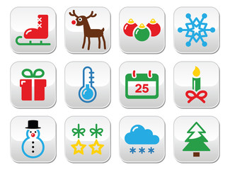 Christmas winter buttons set