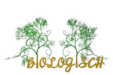 Schriftzug BIOLOGISCH mit einem Baum - Nachhaltigkeit