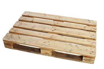 Wooden pallet against white background