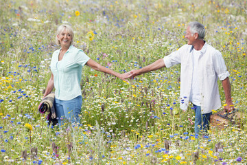 Smiling senior couple holding hands and carrying picnic basket through field of wildflowers