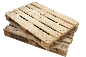 Wooden pallets against white background