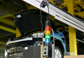 The traffic light for regulation of work of the conveyor line of