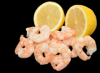 Cooked Fresh Prawns And Lemon