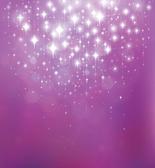 Vector abstract violet  background with lights and stars.