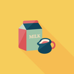 milk package flat icon with long shadow,eps10