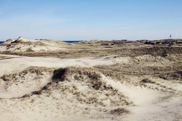 Beach landscape under blue sky