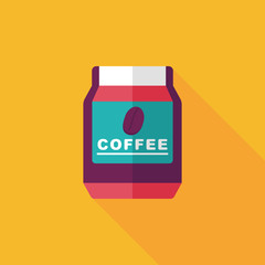 glass canned coffee flat icon with long shadow,eps10