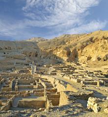 The site Deir al-Medina near the Valley of Kings at Luxor. Egypt