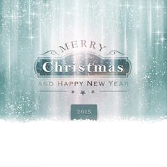 Silver blue Merry Christmas Typography