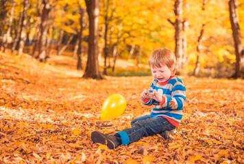 boy felt at fall forest ground