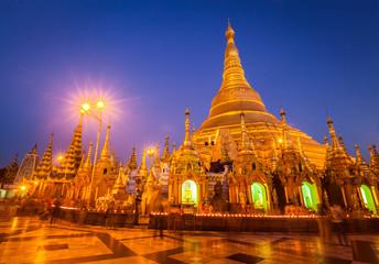Shwedagon pagoda in the evening