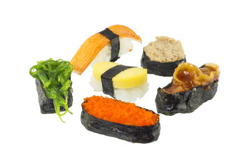 Sushi on white background, Japanese Food