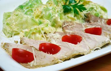 chicken fillet with stewed zucchini