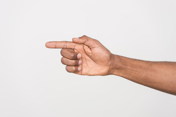 shot of man hand pointing with finger.
