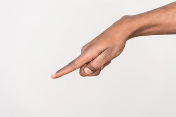 black man hand on white background.