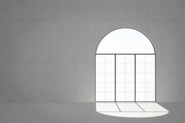 Fenster mit Himmel in weiß im Loft