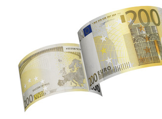 Two hundred euro bill colage isolated on white