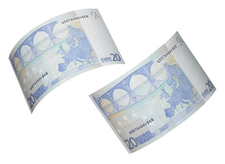 Twenty euro bill collage isolated on white
