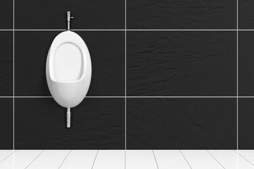 Urinal im WC mit schwarzen Fliesen