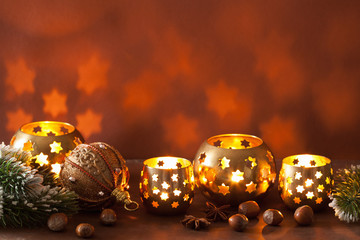 burning christmas lanterns and decoration background